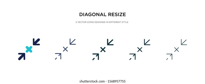 diagonal resize icon in different style vector illustration. two colored and black diagonal resize vector icons designed in filled, outline, line and stroke style can be used for web, mobile, ui