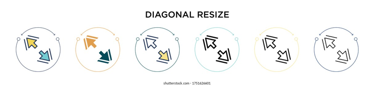 Diagonal resize icon in filled, thin line, outline and stroke style. Vector illustration of two colored and black diagonal resize vector icons designs can be used for mobile, ui, web