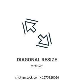 Diagonal resize outline vector icon. Thin line black diagonal resize icon, flat vector simple element illustration from editable arrows concept isolated on white background