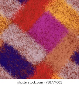 Diagonal seamless pattern for plaid, coverlet,carpet with colorful  weave fluffy elements