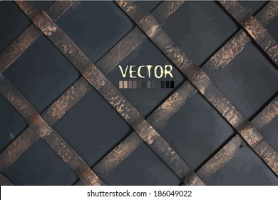diagonal steel grille . background wrought iron. Vector