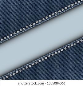 Diagonal stripe between denim with sequins along borders.