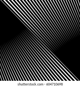 Diagonal striped illustration. Repeated white lines on black background. Surface pattern design with linear ornament. Disco lights motif. Stripes wallpaper. Digital paper for web designing. Vector art