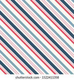 Diagonal stripes seamless pattern. Simple vector slanted lines texture. Modern abstract geometric colorful striped background. Pink, red, blue and white color. Repeat design for decor, fabric, print
