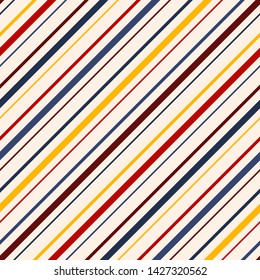 Diagonal stripes seamless pattern. Vector colorful lines texture. Abstract geometric striped background. Thin slanted strips. Red, maroon, yellow, navy blue and beige color. Simple repeatable design