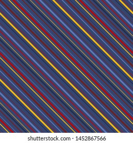 Diagonal stripes seamless pattern. Vector colorful lines texture. Abstract geometric striped background. Thin slanted strips. Red, maroon, yellow, blue and navy color. Simple repeat design for decor
