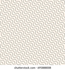 Diagonal thin wavy lines vector seamless pattern. Subtle beige background, simple geometric repeat texture, pastel colors. Fine slanted waves. Design for decor, prints, textile, fabric, digital, web
