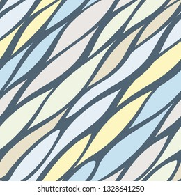 Diagonal tremulous line structure. Endless smooth waves vector background. Asymmetry streak seamless pattern.