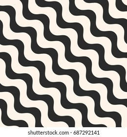 Diagonal wavy lines vector seamless pattern. Simple black & white waves, smooth stripes. Abstract monochrome background, repeat tiles. Modern design element for prints, decor, fabric, furniture, cloth