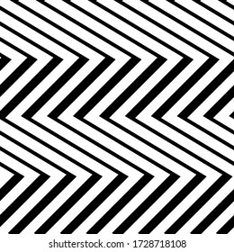 Diagonal zigzag lines seamless pattern. Angled jagged stripes ornament. Linear waves motif. Curves print. Striped background. Tilted broken line shapes wallpaper. Slanted wavy stripe figures. Vector.