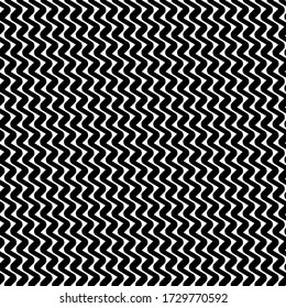 Diagonal zigzag lines seamless pattern. Angled jagged stripes ornament. Linear waves motif. Curves print. Slanted wavy stripe figures. Striped background. Tilted broken line shapes wallpaper. Vector