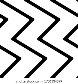 Diagonal zigzag lines seamless pattern. Angled jagged stripes ornament. Linear waves motif. Curves print. Slanted wavy stripe figures. Striped background. Tilted broken line shapes wallpaper. Vector.