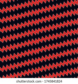 Diagonal zigzag lines seamless pattern. Linear waves motif. Striped background. Angled jagged stripes ornament. Slanted wavy stripe figures. Curves print. Tilted broken line shapes wallpaper. Vector