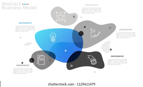 Diagram with 5 translucent intersected shapes, linear icons and place for text. Concept of abstract business model. Minimal infographic design template. Vector illustration for pitch deck, brochure.