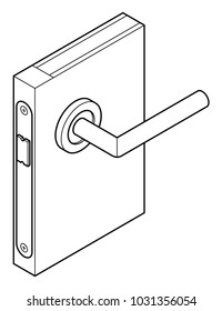Diagram of a basic door handle and latch.