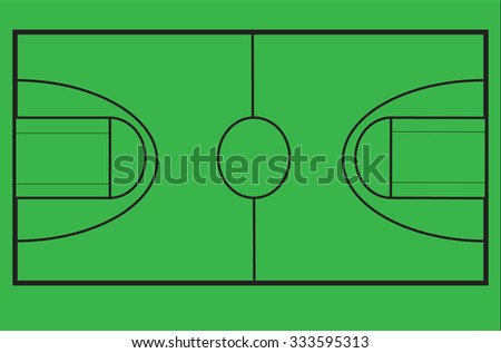Diagram Basketball Court Scale On Chroma Stock Vector Royalty Free