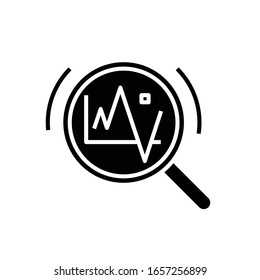 Diagram changing black icon, concept illustration, vector flat symbol, glyph sign.