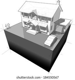 diagram of a classic colonial house (another house diagram from the collection, all have the same point of view/angle/perspective, easy to combine)