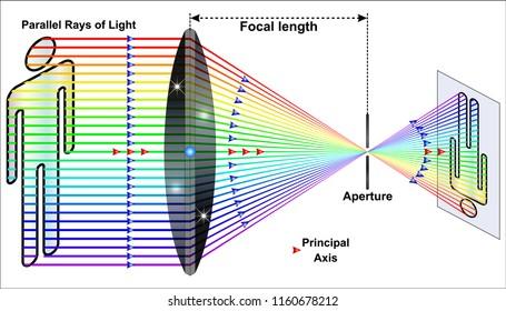 Diagram of a convex lens diagram with a light ray passing through
