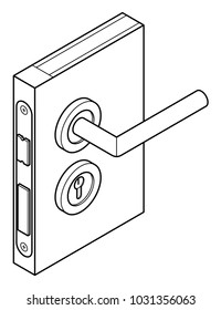 Diagram of a door handle and lock - with an english/wrench lock and bolt.