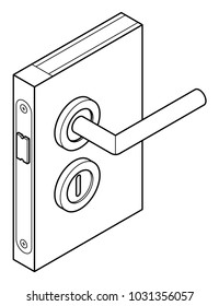 Diagram of a door handle and lock - with  a simple key/tumbler lock.