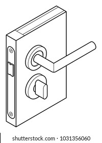 Diagram of a door handle and lock - with turn latch/lock.