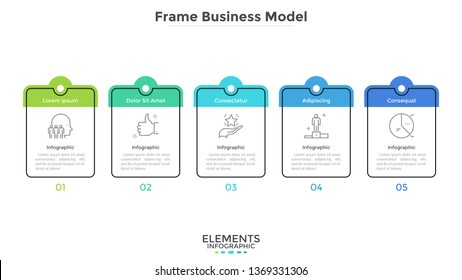 Diagram with five cards or rectangular frames placed in horizontal row. Business model with 5 stages of progressive development. Flat infographic design layout. Vector illustration for presentation.