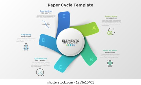Diagram with five paper colorful rectangles or cards placed around white round element. Modern infographic design template. Trendy vector illustration for 5-stepped business project, cyclical process.