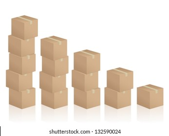 Diagram formed by cardboard boxes on white background.