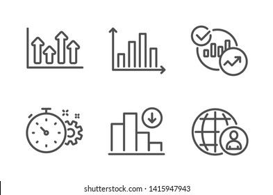Diagram graph, Cogwheel timer and Upper arrows icons simple set. Statistics, Decreasing graph and International recruitment signs. Presentation chart, Engineering tool. Science set. Vector