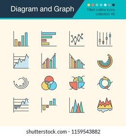 Diagram and Graph icons. Filled outline design collection 56. For presentation, graphic design, mobile application, web design, infographics. Vector illustration.