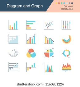 Diagram and Graph icons. Flat design collection 56. For presentation, graphic design, mobile application, web design, infographics. Vector illustration.
