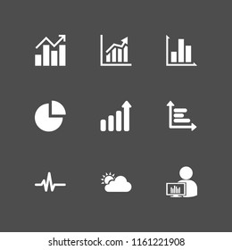 diagram icon. 9 diagram set with forecast, ascendant bars graphic, pulse line and graph vector icons for web and mobile app