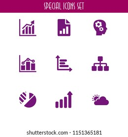 diagram icon. 9 diagram set with graph, sitemap, ascendant bars graphic and forecast vector icons for web and mobile app