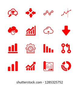 diagram icons set with ascending graphic, connection of circles line and arrow and cloud computing vector set