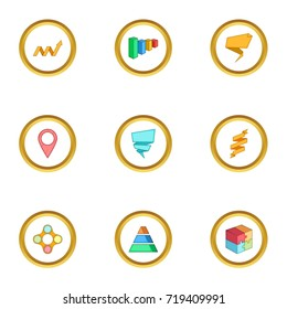 Diagram icons set. Cartoon style set of 9 diagram vector icons for web design