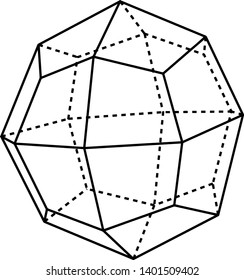 A diagram of Icositetrahedron that is delimited by twenty-four trapezoidal faces, vintage line drawing or engraving illustration.