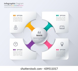Diagram and infographic template used sample content. 4 choice infographic diagram, system diagram and presentation. White presentation template for business. vector stock.