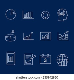 Diagram and infographic white silhouette  icons vector