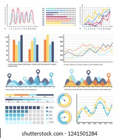 Diagram and infographics with segments and explanation vector. Scheme with design, presentation with visualized business concepts. Statistics design