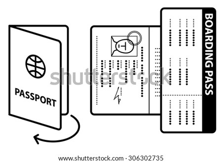 Diagram Instructions Open Passport Photo Page Stock Vector Royalty