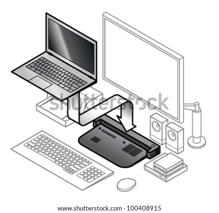 diagram laptop attaching onto dock line stock vector (royalty free computer ports diagram diagram of laptop attaching onto a dock with line drawings of peripherals connected to the