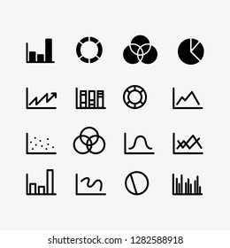Diagram, pie chart, graphic, statistics and histograms vectors icon set