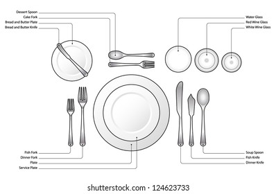 Diagram Place setting for a formal dinner with soup and fish courses. With text  sc 1 st  Shutterstock & Formal Table Setting Images Stock Photos u0026 Vectors | Shutterstock