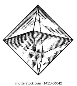 A diagram of a regular octahedron. It is a polyhedron with eight faces. It is the main form of the isometric system, vintage line drawing or engraving illustration.