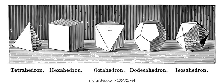 Diagram of regular polyhedra: tetrahedron, hexahedron, octahedron, dodecahedron, icosahedron, vintage line drawing or engraving illustration.