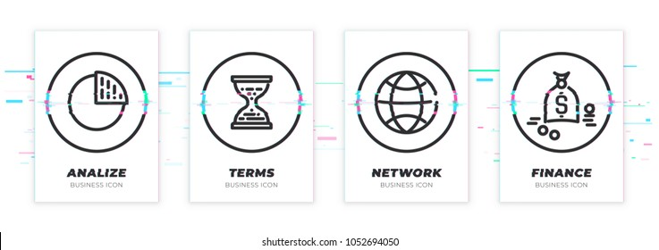 Diagram, sand clocks, world, money. Business theme glitched black icons set. Scalable vector objects on transparent background. Modern distorted glitch style.