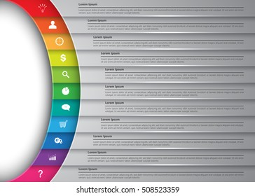 Diagram Semi-Circle With Multi-Color Background , 11 Options, Business Icon & Information Text Design. Vector Illustration