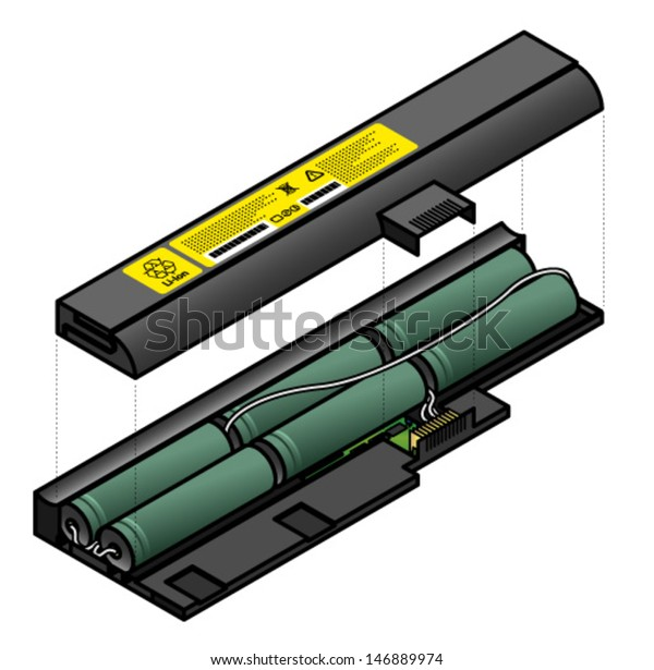 Diagram Showing Inside Components Laptop Battery Stock