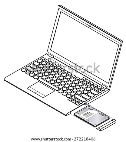 diagram showing installation removal solid state stock vector Network Diagram diagram showing installation removal of a solid state hard drive ssd on a laptop puter vector